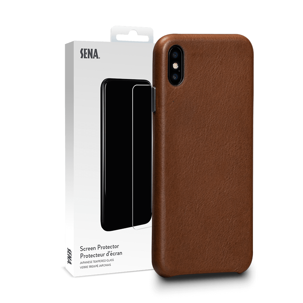 Deen Leatherskin Snap On Case for iPhone XS Max Screen Protector Bundle