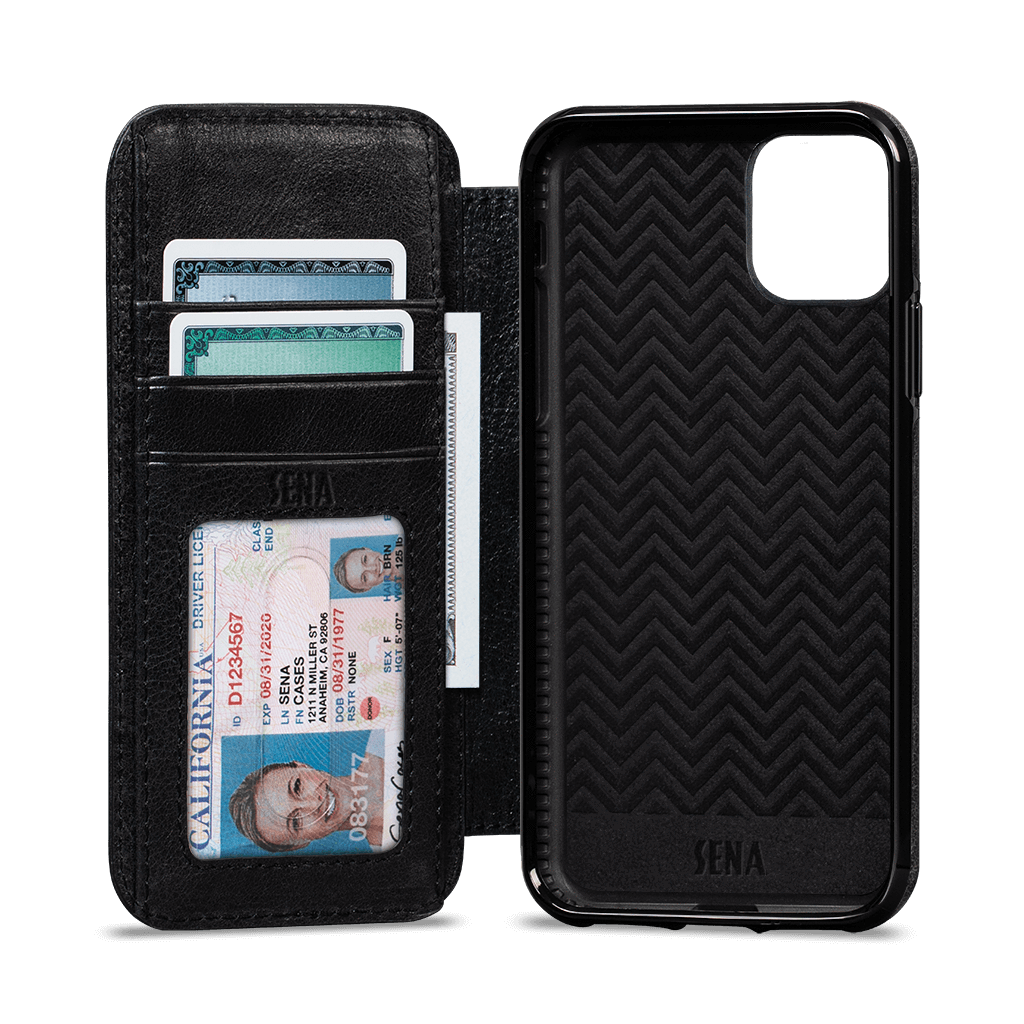 Wallet Book Case for iPhone 11 Pro (Black/Periwinkle)