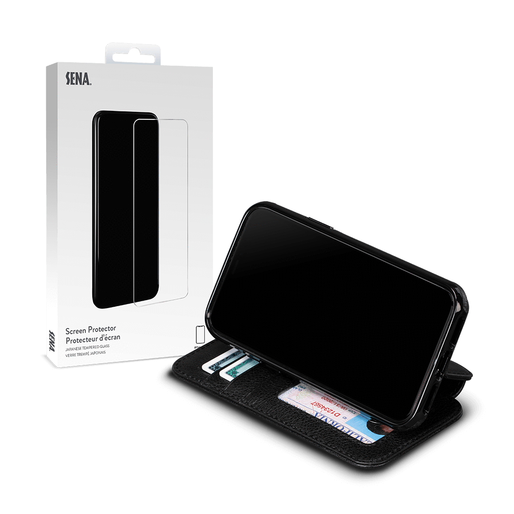 Wallet Book for iPhone 11 Pro Screen Protector Bundle (Black)