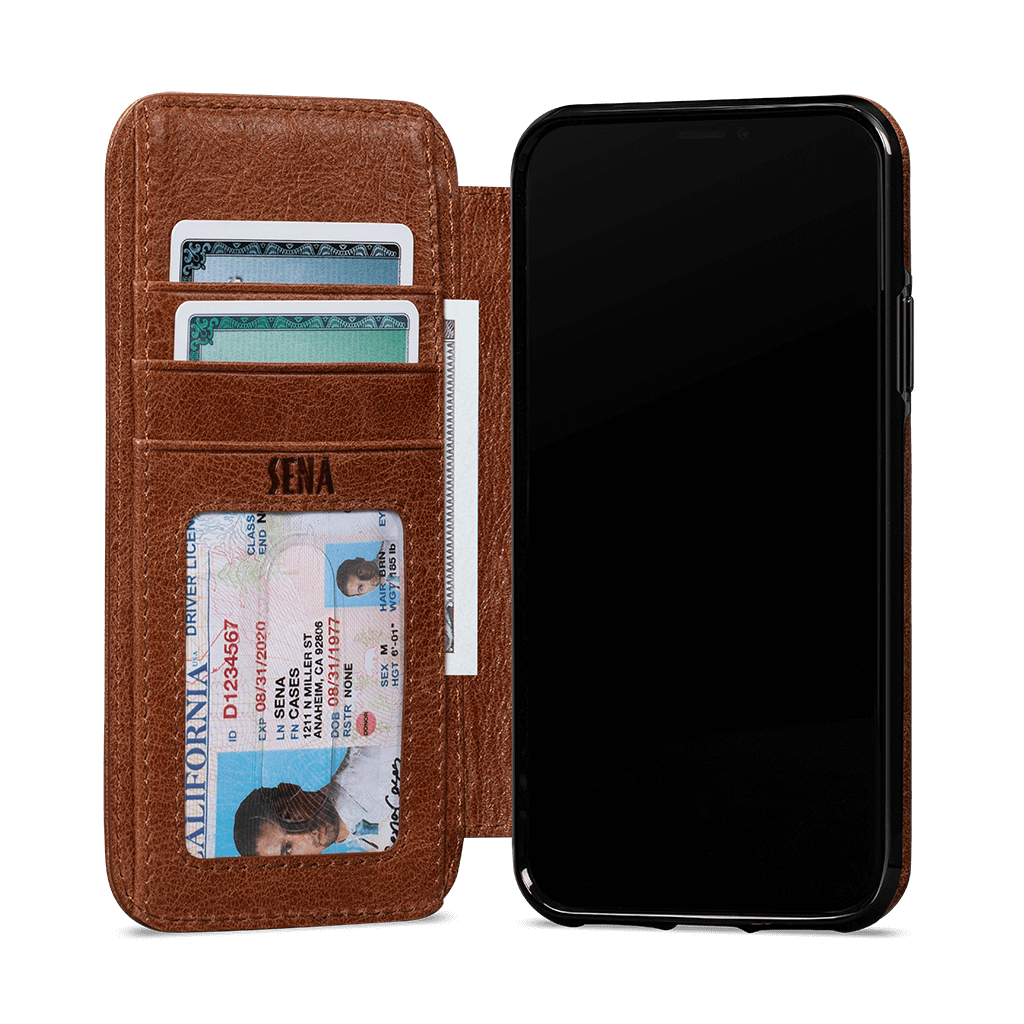 Wallet Book for iPhone 11 Screen Protector Bundle (Cognac)