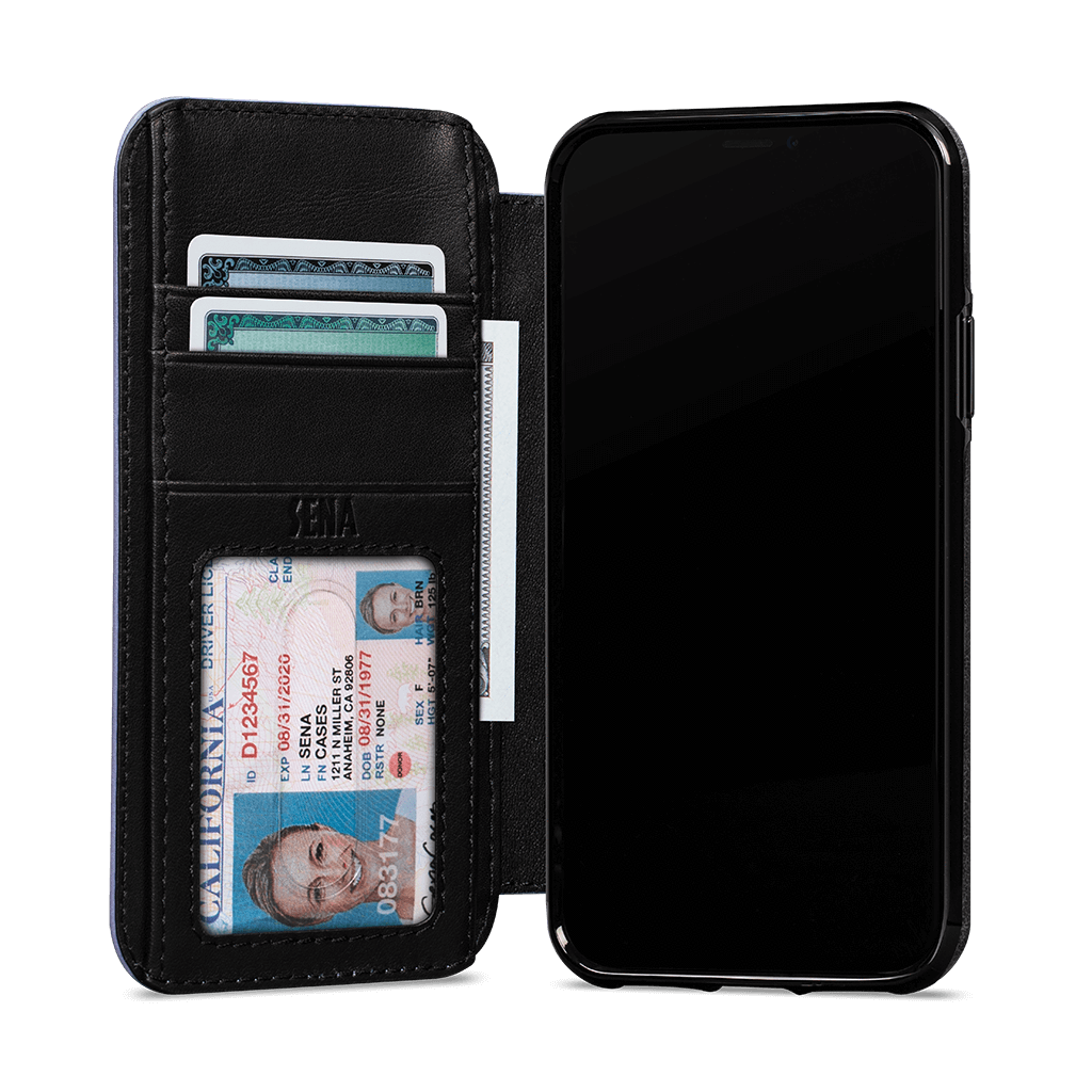 Wallet Book for iPhone 11 Pro Max Screen Protector Bundle (Black/Periwinkle)
