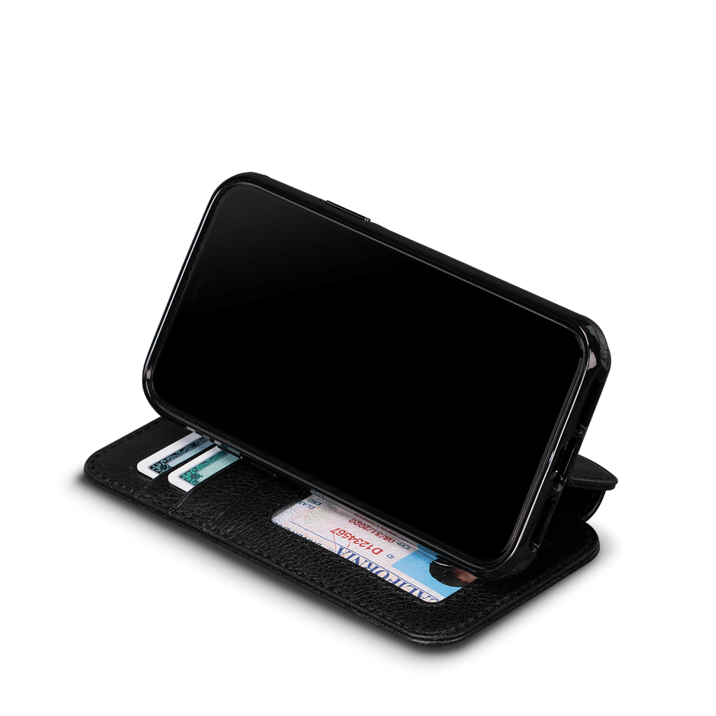 Wallet Book Case for iPhone 11 Pro Max  (Black)