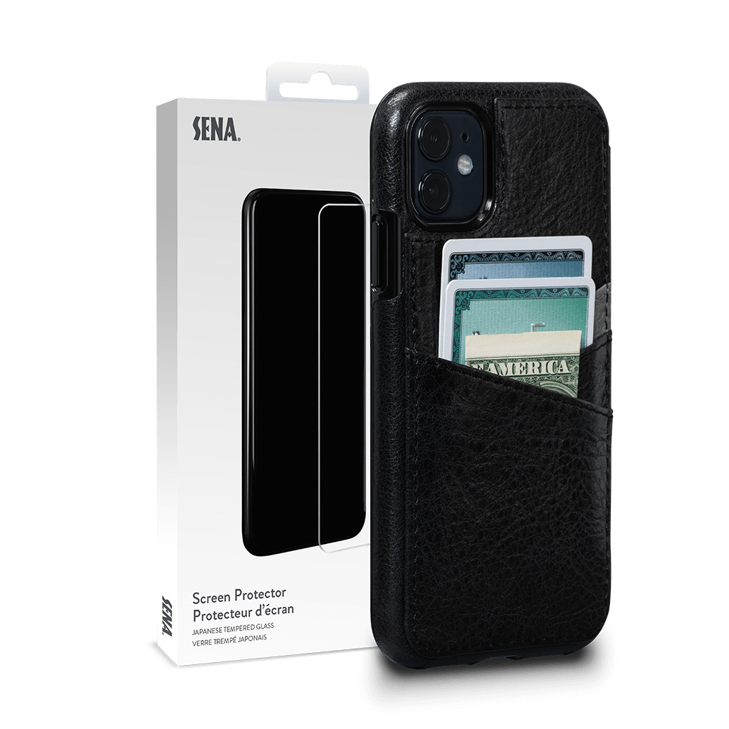 Lugano Wallet for iPhone 11 Screen Protector Bundle (Black/Grey)