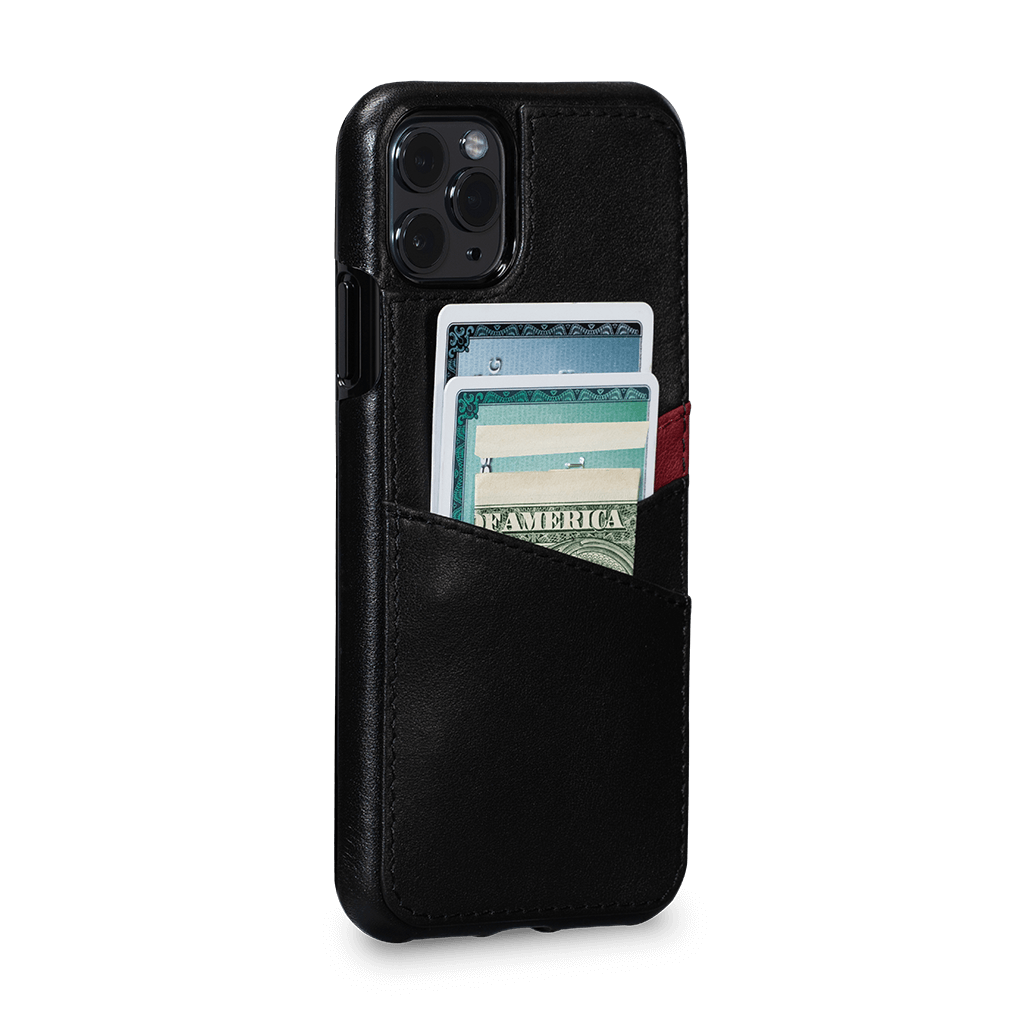 Lugano Wallet Case for iPhone 11 Pro Max (Black/Bordo)