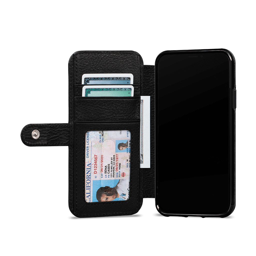Wallet Book Classic  for iPhone 11 Pro Max Screen Protector Bundle (Black)