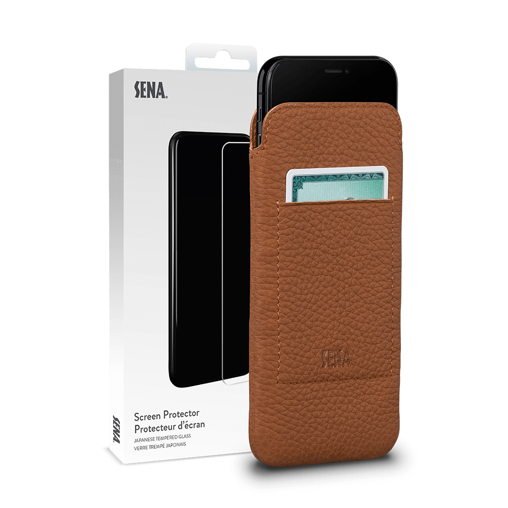 Ultraslim Wallet for iPhone 11 Screen Protector Bundle (Tan)