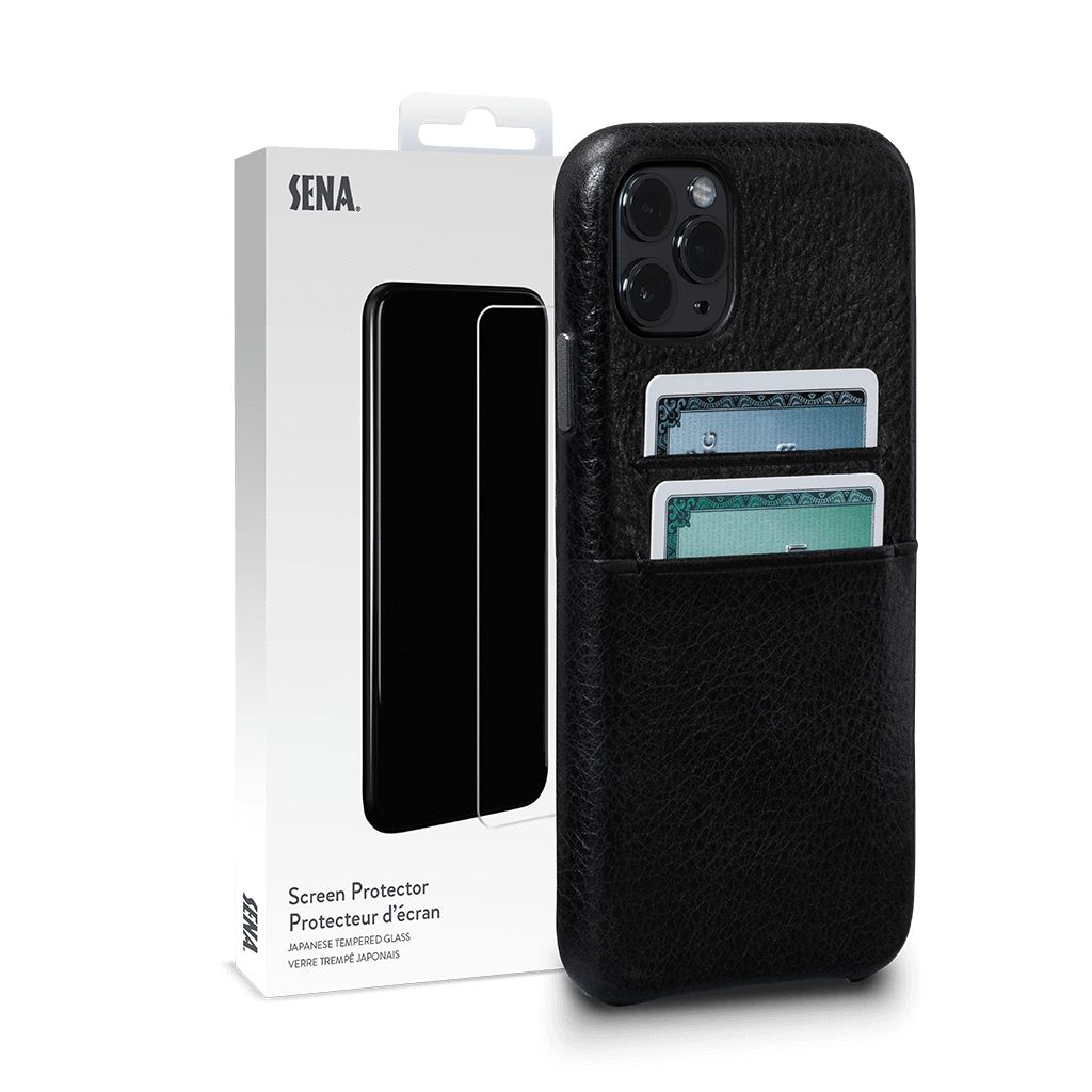 Snap On Wallet for iPhone 11 Pro Screen Protector Bundle (Black)