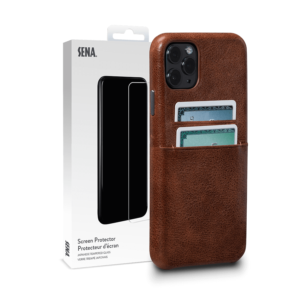 Snap On Wallet for iPhone 11 Pro Max Screen Protector Bundle (Cognac)