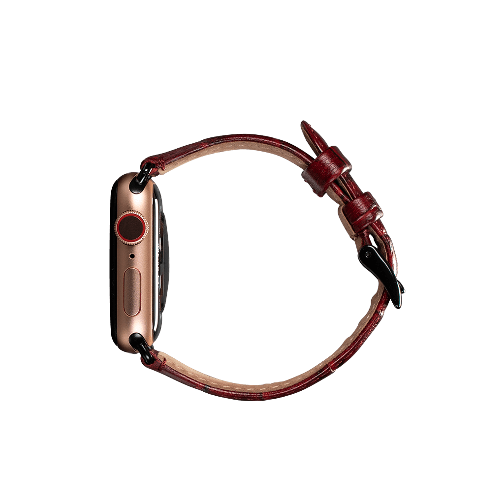 Leather 38mm/40mm Apple Watch Band (Croc Red)