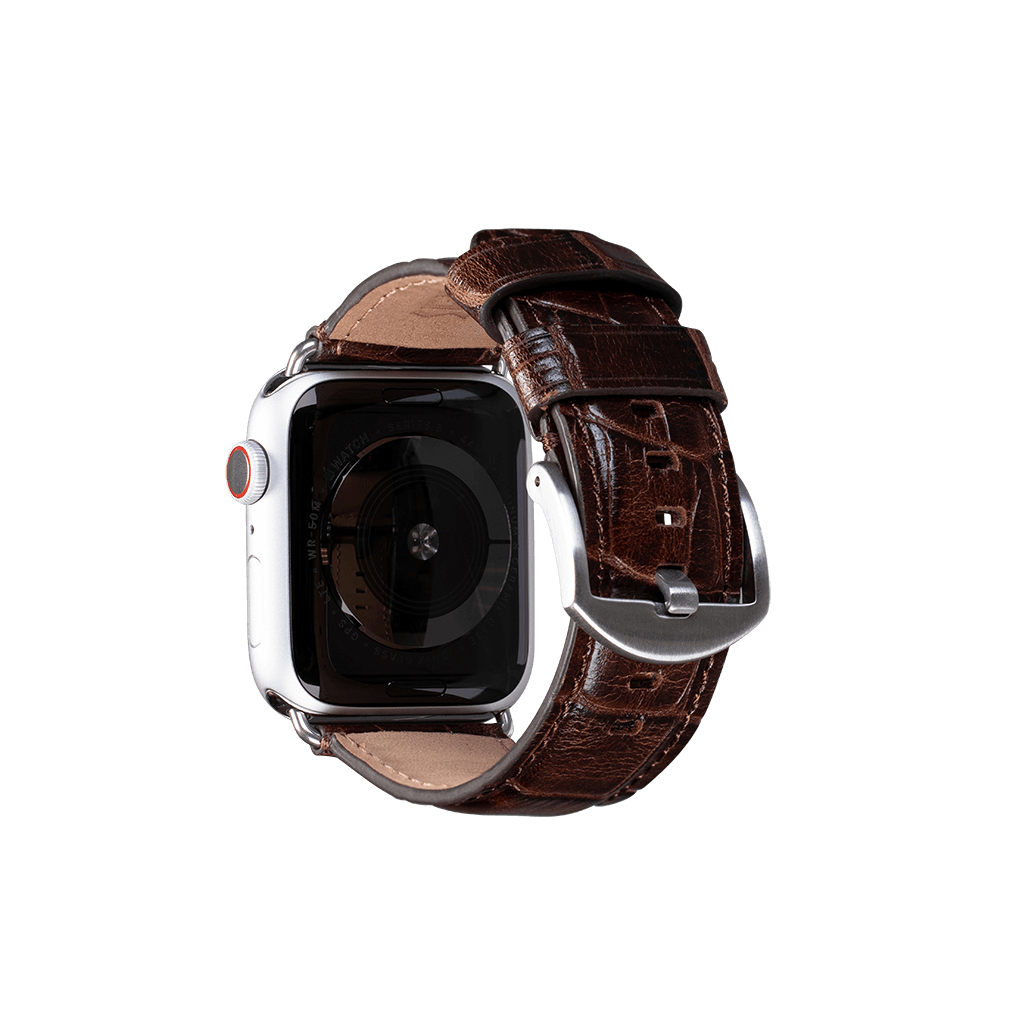 Leather 42mm /44mm Apple Watch Band (Croc Brown)