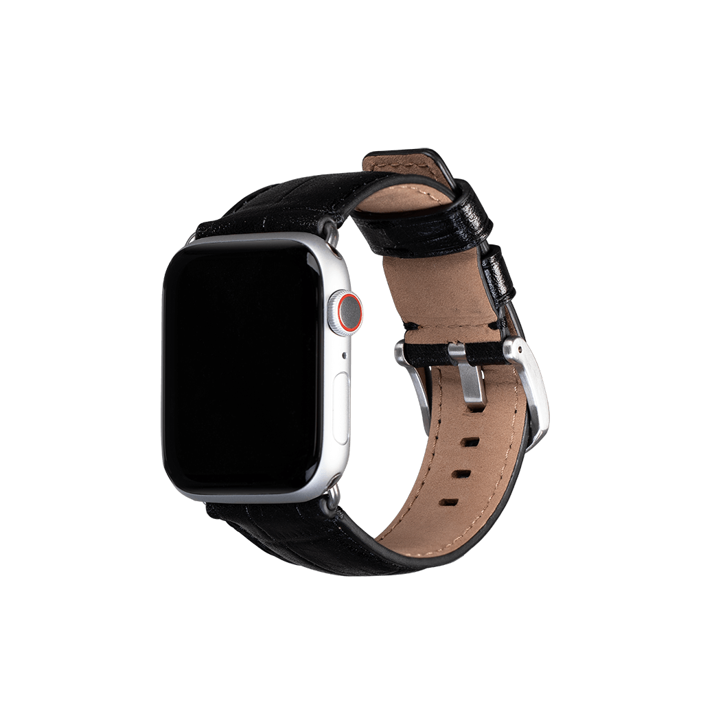 Leather 42mm /44mm Apple Watch Band (Croc Black)