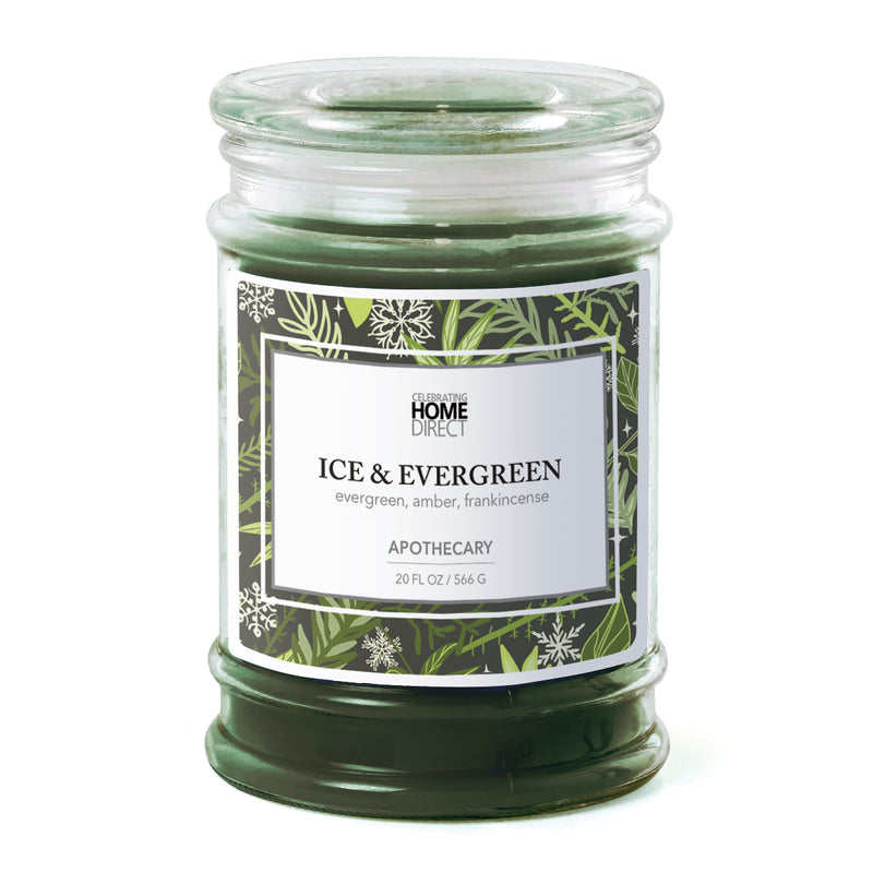 Apothecary Candle - 20 oz - Ice & Evergreen