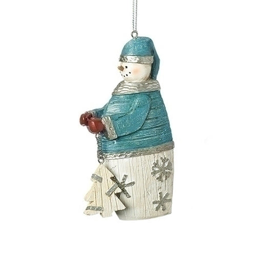 "Blue Plank Snowman Ornament 4""H"