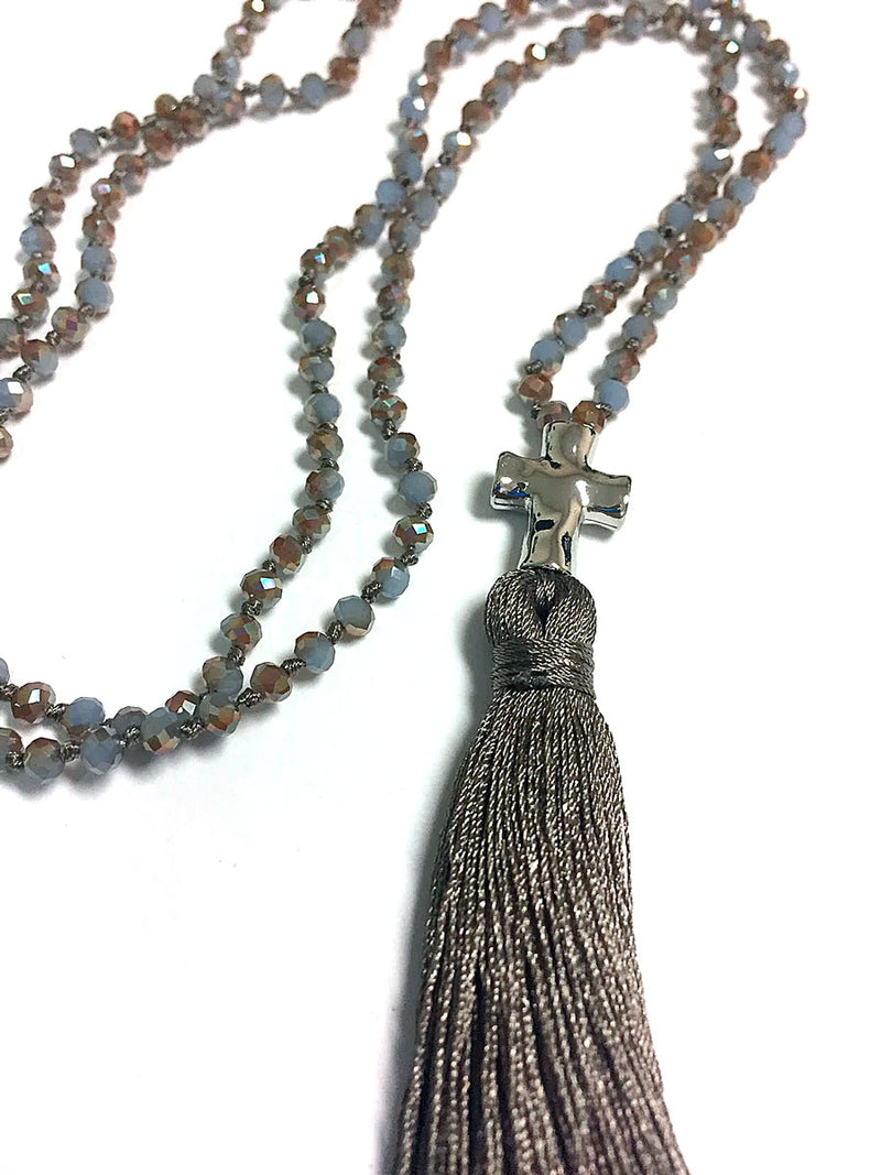 Necklace Pacific Pewter Tassel 36""