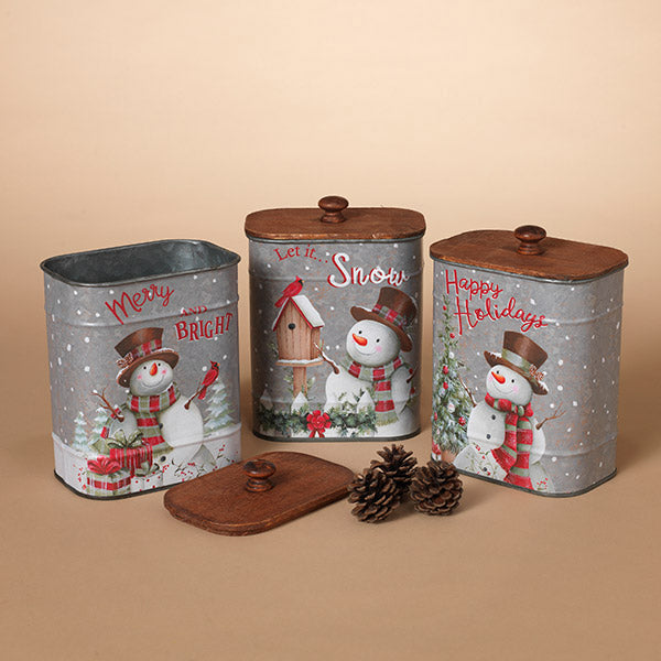 Holiday Metal Snowman Containers