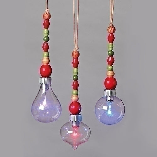 "Beaded Crystal Ornament set of 3. 8.5""H"