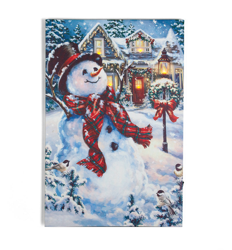 Happy Snowman Canvas w/LED lighting