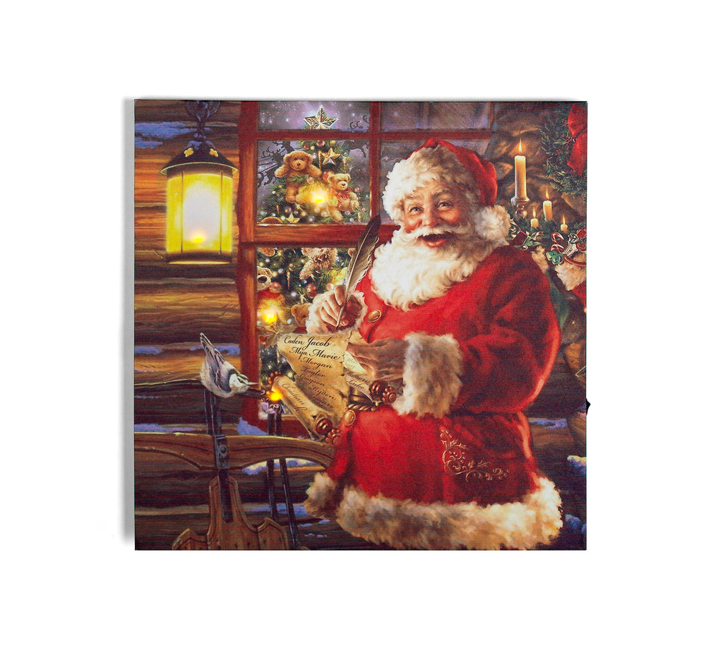 Santas Nice List w/LED lighting on Canvas