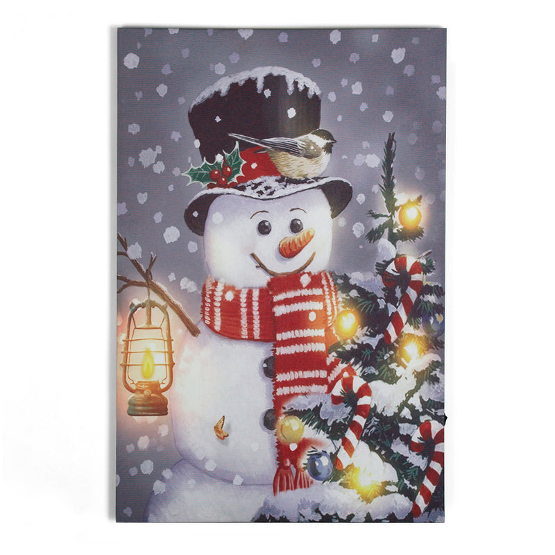 Happy Jack Snowman Bird Friend w/LED lighting on Canvas