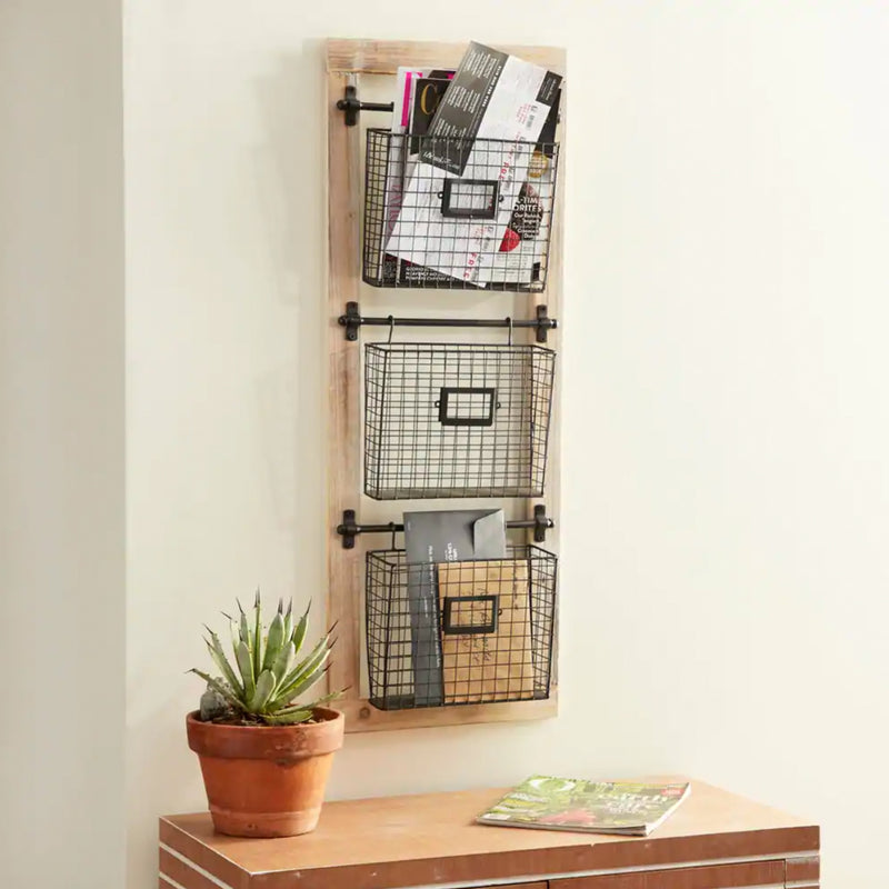 Farmhouse 3-Tiered Wood and Iron Basket Wall