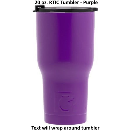20 oz Personalized RTIC Tumbler - Purple with up to 3 LINES - Click here to personalize!!!