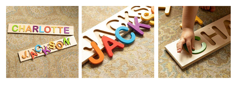 Fat Brain Toys Wooden Personalized Name Puzzle - Flat Rate up to 9 Letters Early Learning Toys for Babies
