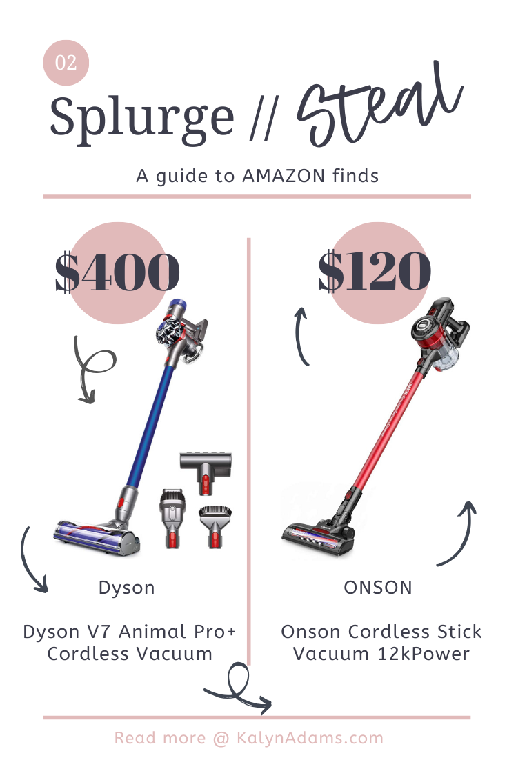 Splurge vs. Steal // Amazon Dupe Designer Vacuum // Dyson style for only $120!