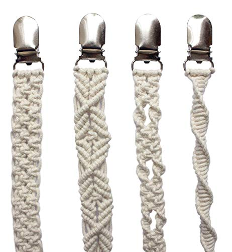 4 Pack Beige Macrame Pacifier Clips