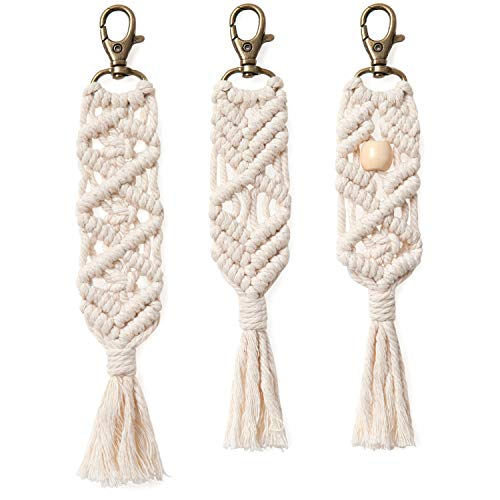 Handmade Boho Macrame Key chains with Tassels  - 3 pack