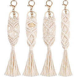 4 Pieces Boho Macrame Key chains with Tassels