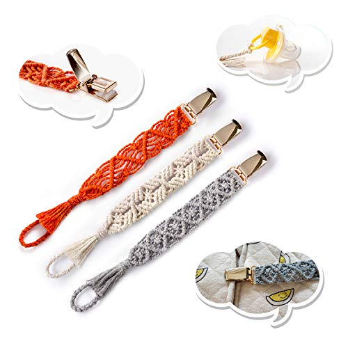Boho Baby Macrame Pacifier Clips, 3 Pack Braided Soother Clip or Teething Ring Holder