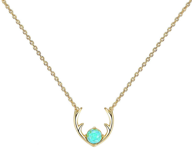 Deer Antler Opal Necklace