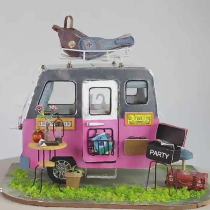 DIY Happy Camper Fairy Gypsy Travel Trailer Doll House - Kalyn's Finds