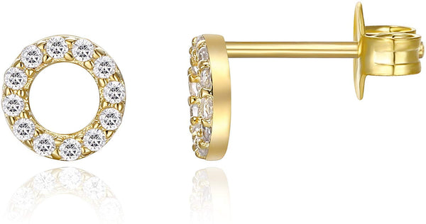 Dainty Halo Stud Earrings