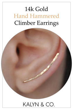 Hand Hammered 14K Gold Climber Earrings
