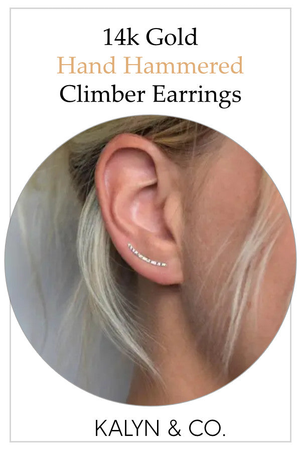 Hand Hammered Sterling Silver Climber Earrings