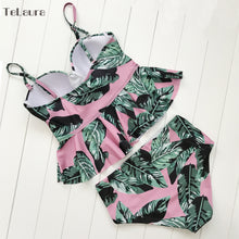 High Waisted Tankini Palm Leaf Floral Two Piece  Swimsuit - Kalyn's Finds