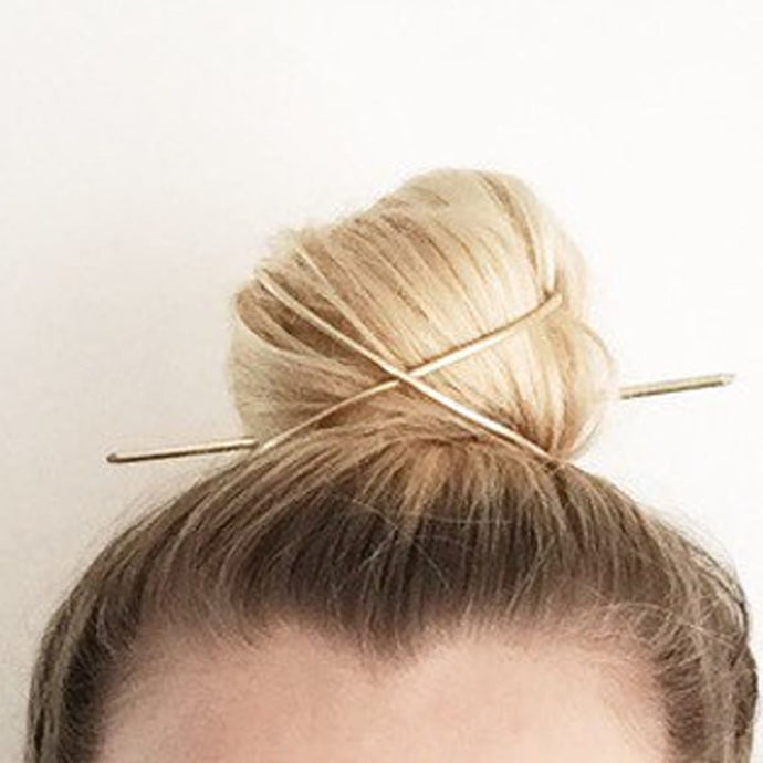 Gold Boho X Shaped Bun Holder Hair Stick Accessory - Vintage Bun Cage