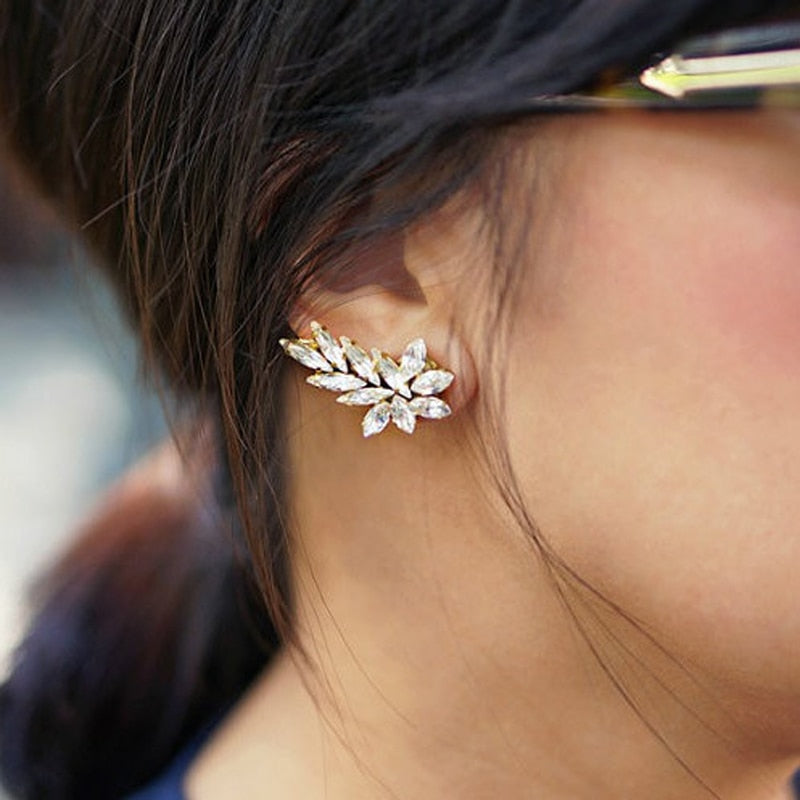 Crystal Stud Earrings - Ear Pin Climber Earrings