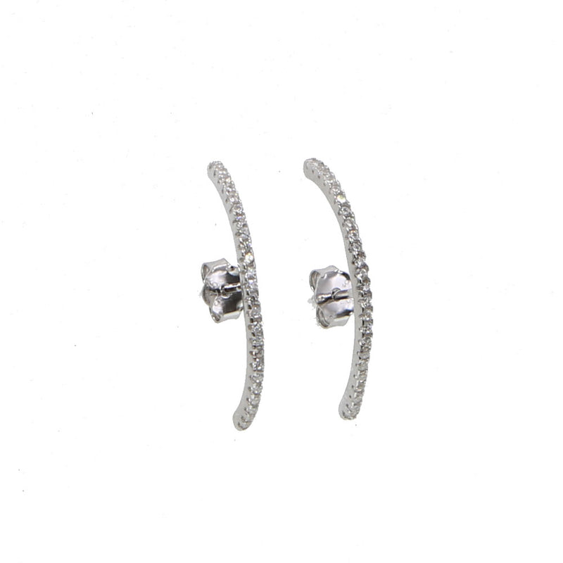 Sterling Silver long skinny ear cuff conch stud earrings
