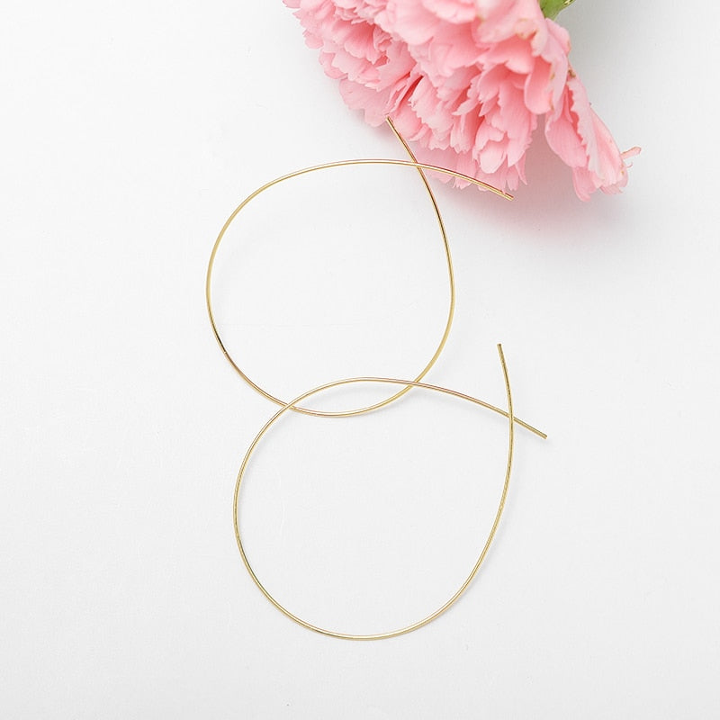 Simplicity Handmade Thin Metal Wire Drop Dangle Earrings Gold
