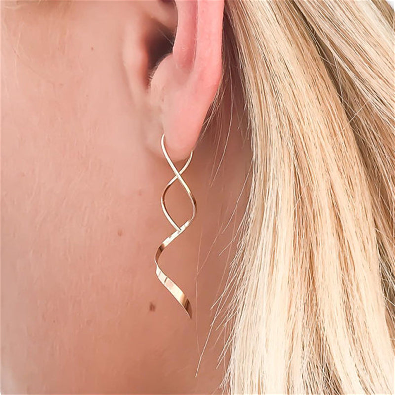 Handmade 14k Gold Dangle Spiral Earrings