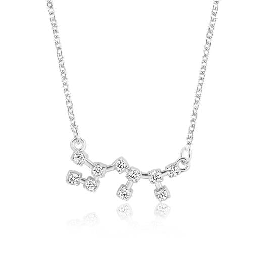 925 Silver Rhinestone Jewelry Pendant Necklace Gold Plated Constellation Zodiac Necklaces For Woman