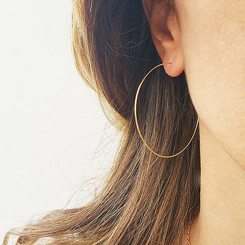 Handmade Thin Hoops extra Large hoop earrings Wire Earrings minimalist lightweight