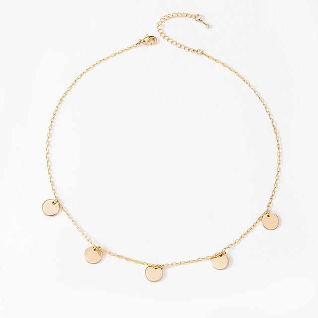 Gold Coin Tassel Charm Choker Necklace