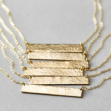Hammered Bar Necklace Custom Textured Pendant