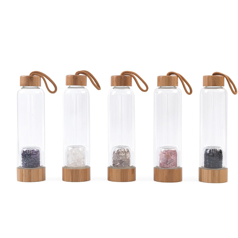 Bamboo Style Glass Water Bottles with Gem Infuser Amethyst & Rose Quartz Healing Crystals