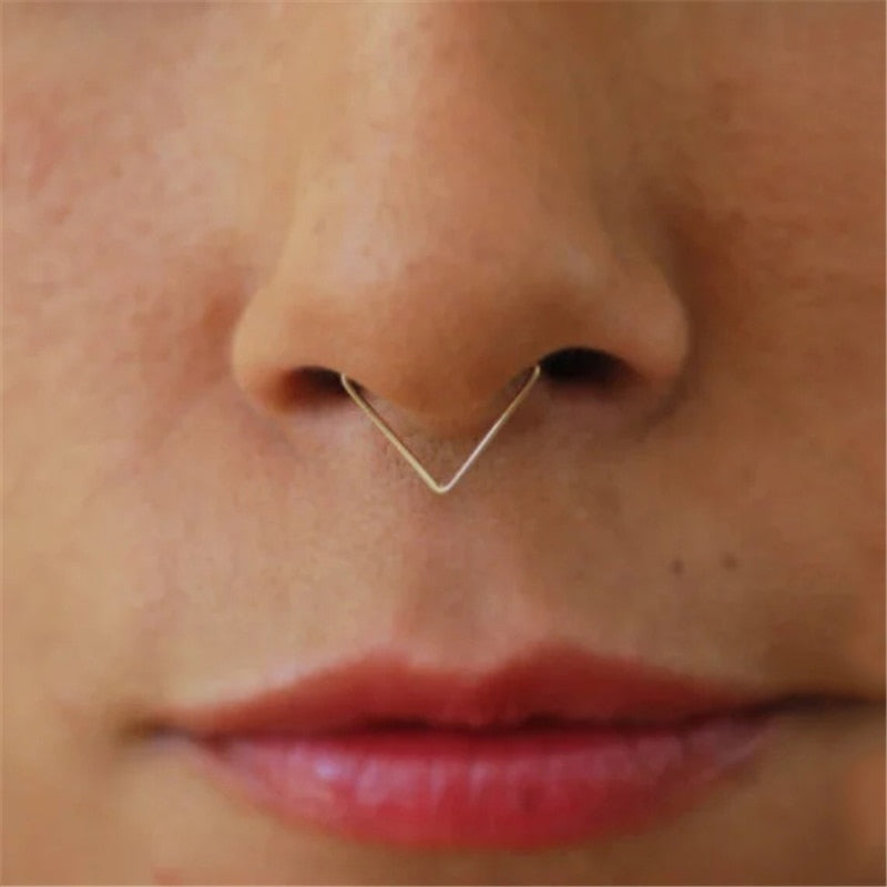 Handmade Triangle Nose Septum Ring - Fake Piercing Grunge Style