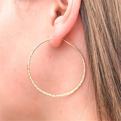 Hand Hammered 14k Gold Hoop Earrings
