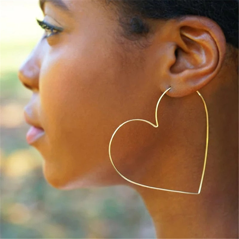 Gold Handmade Heart-shaped Hoop Earrings